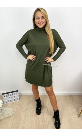 KHAKI GREEN - 'EVY' - OVERSIZED COMFY COL SWEATER DRESS