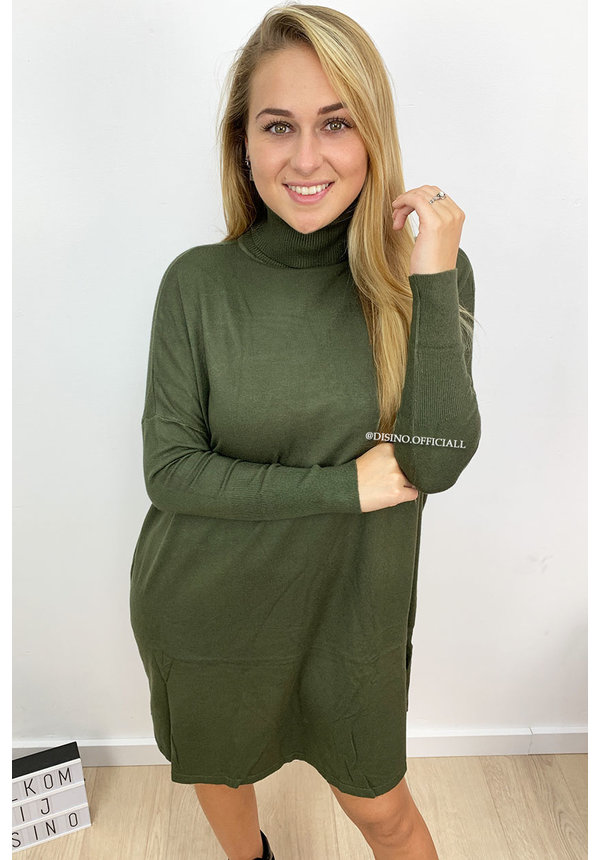 KHAKI GREEN - 'EVY' - OVERSIZED COMFY COL SWEATER DRESS