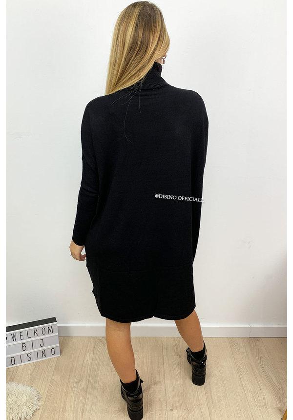 BLACK - 'EVY' - OVERSIZED COMFY COL SWEATER DRESS