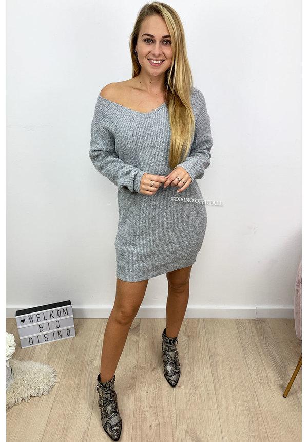 GREY MELANGE - 'NOLA' - SOFT OVERSIZED V-NECK KNITTED SWEATER DRESS