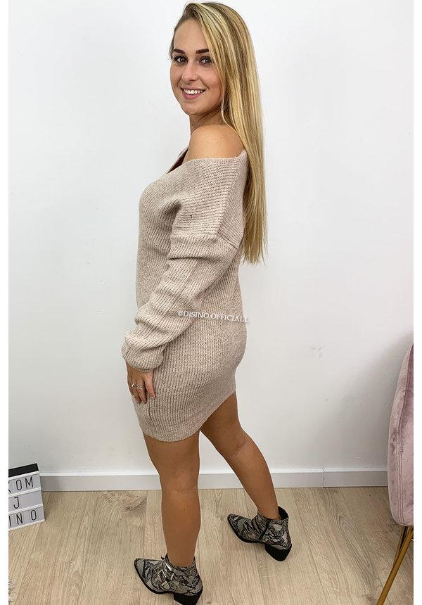 BEIGE - 'NOLA' - SOFT OVERSIZED V-NECK KNITTED SWEATER DRESS