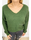 KHAKI GREEN - 'NOLA TOP' - SOFT OVERSIZED V-NECK KNITTED SWEATER