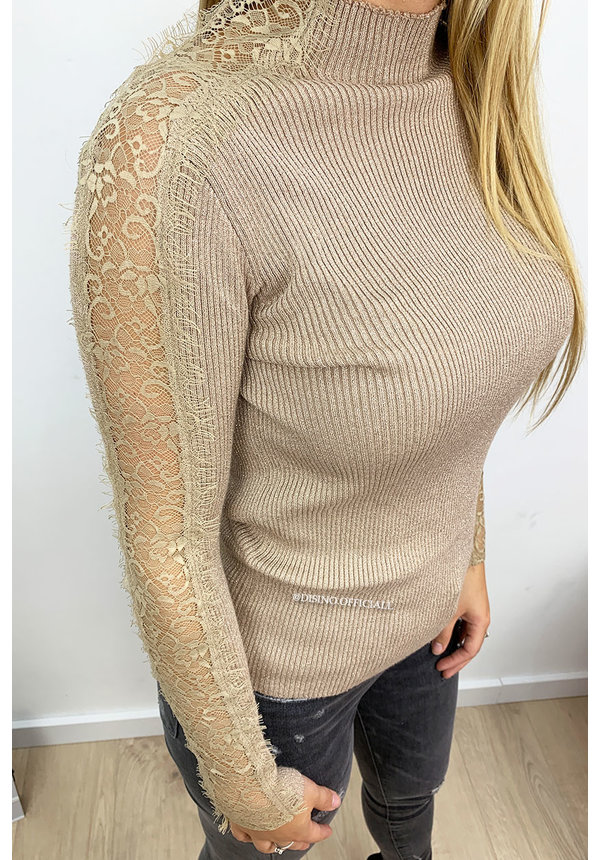 BEIGE - 'KASSY' - GLITTERLY RIBBED LACE SLEEVE TOP
