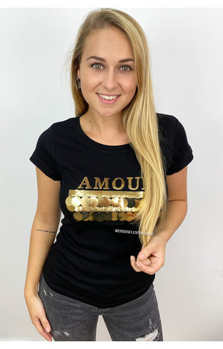 BLACK - 'ROUND AMOUR' - BIG GOLD APPLICATION TEE