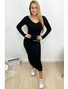BLACK - 'JAZZY' - MAXI RIBBED V-NECK DRESS