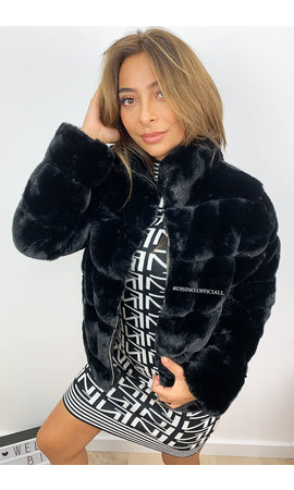 BLACK - 'ROXAN' - ZIPPED SUPER SOFT FAKE FUR BOMBER JACK