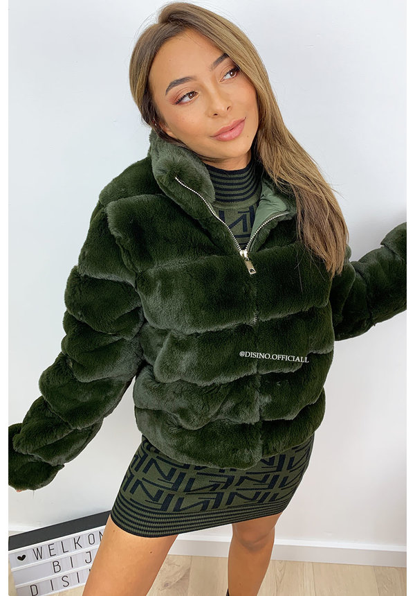 KHAKI GREEN - 'ROXAN' - ZIPPED SUPER SOFT FAKE FUR BOMBER JACK