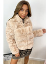 BEIGE - 'ROXAN' - ZIPPED SUPER SOFT FAKE FUR BOMBER JACK