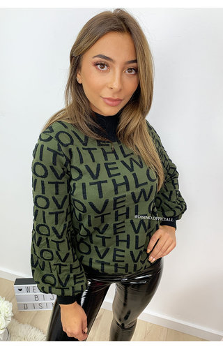 KHAKI GREEN - 'WITH LOVE' - OVERSIZED KNITTED SWEATER
