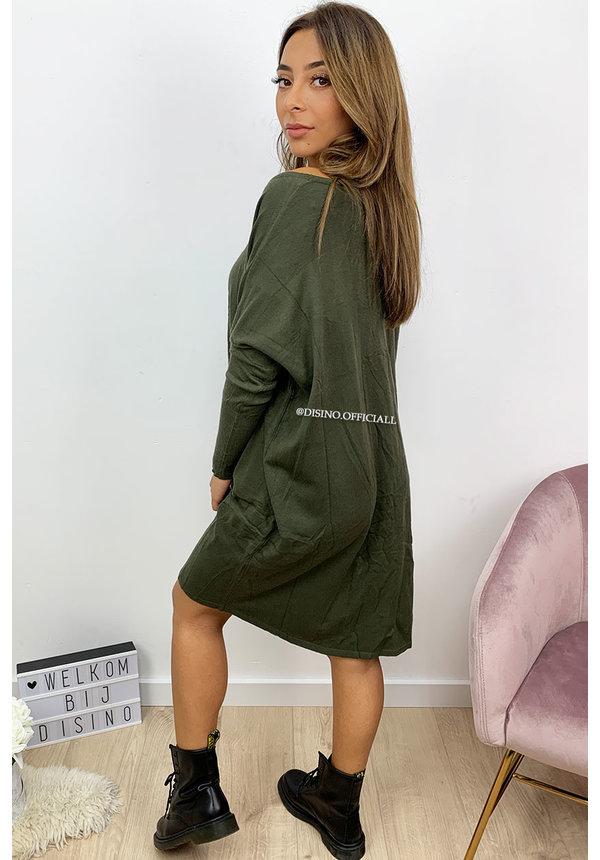 KHAKI GREEN - 'JACKY' - OVERSIZED COMFY SWEATER DRESS