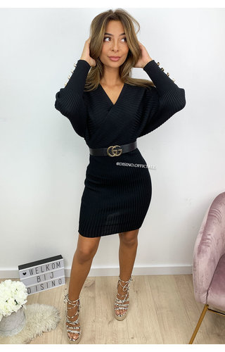 BLACK - 'SUZANNE' - RIBBED V-DRESS WITH PEARLS
