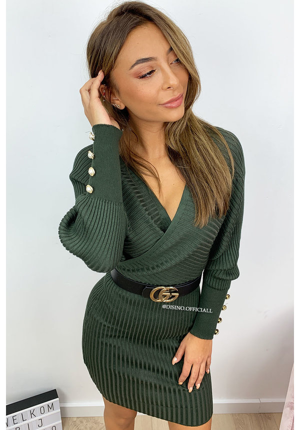 KHAKI GREEN - 'SUZANNE' - RIBBED V-DRESS WITH PEARLS
