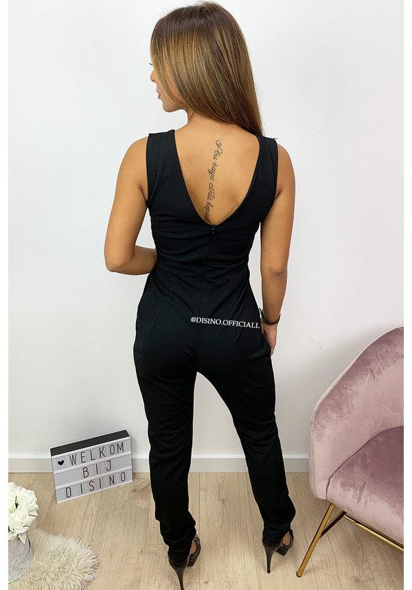 BLACK - 'KYARA' - SEXY V-NECK JUMPSUIT