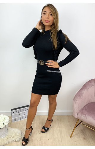 BLACK - 'ROMY DRESS' - RIBBED RUFFLE DRESS