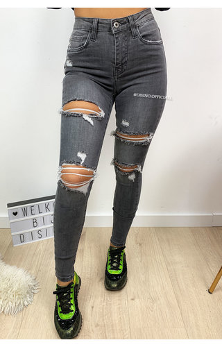 QUEEN HEARTS JEANS - DARK GREY - MAX RIPPED SKINNY HIGH WAIST - 643