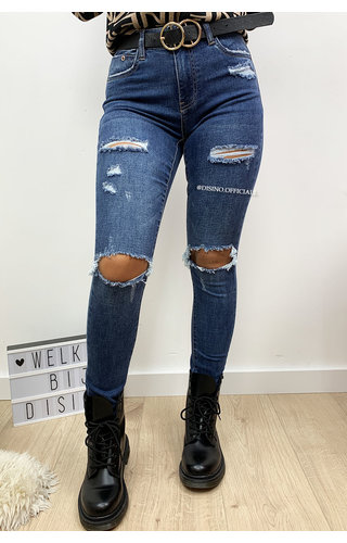 QUEEN HEARTS JEANS - DARK BLUE - RIPPED SKINNY HIGH WAIST JEANS - 637