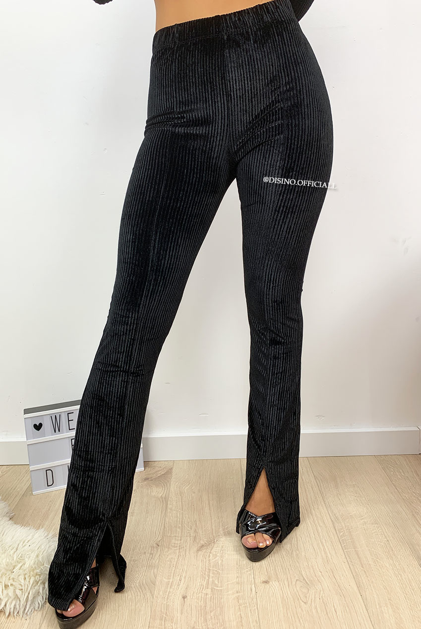 BLACK 'FAY' VELVET RIBBED FLARED PANTS FRONT SPLIT