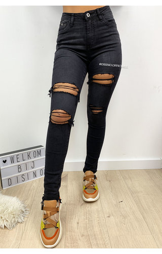 QUEEN HEARTS JEANS - BLACK DENIM - HIGH WAIST RIPPED JEANS - 598
