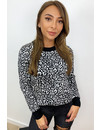 BLACK - 'LOUISA' - LEOPARD PRINT KNITTED SWEATER