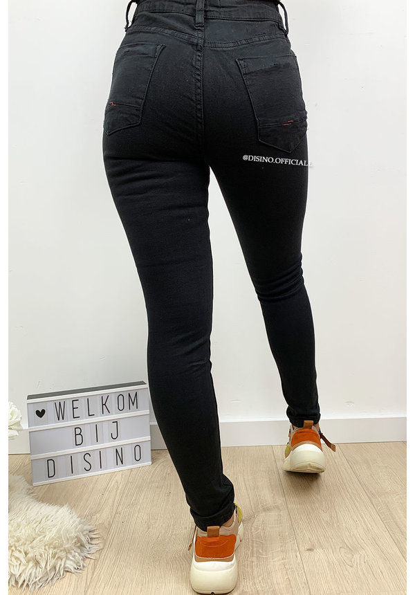QUEEN HEARTS JEANS - BLACK - BASIC HIGH WAIST SUPER STRETCH JEANS - 630