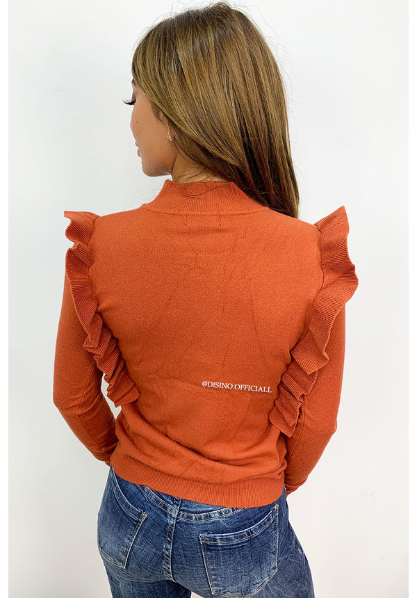 RUST - 'ROMY' - SOFT TOUCH RUFFLE TOP
