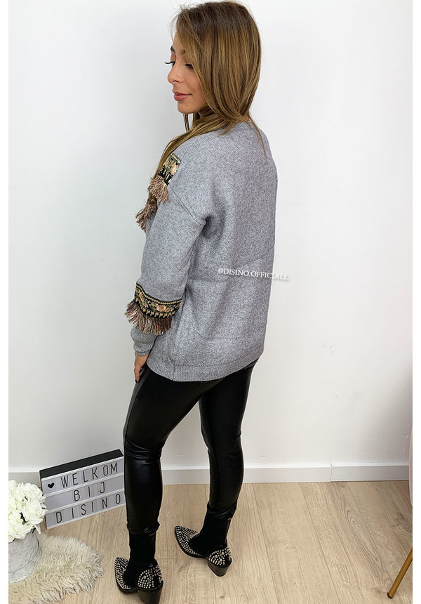 GREY - 'INDIANA TOP' - OVERSIZED FRINGE KNITTED SWEATER