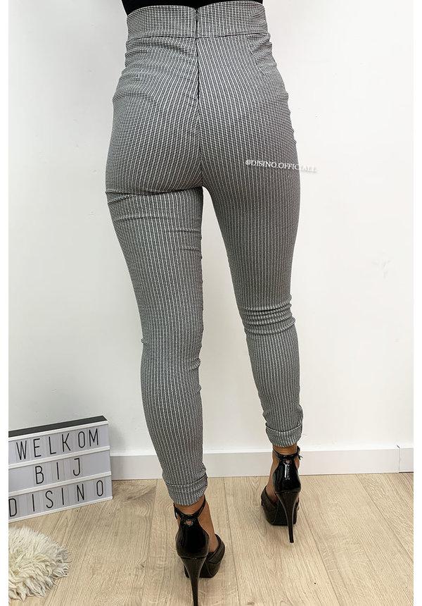 GREY - 'LOLA' - CHECKERED SUPER HIGH WAIST KNOT PANTS