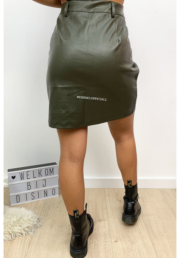KHAKI GREEN - 'NIKKIE' - DOUBLE BELTED LEATHER SKIRT