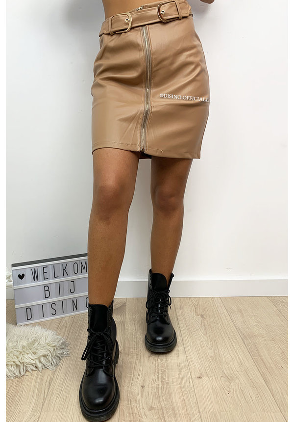 CAMEL - 'NIKKIE' - DOUBLE BELTED LEATHER SKIRT