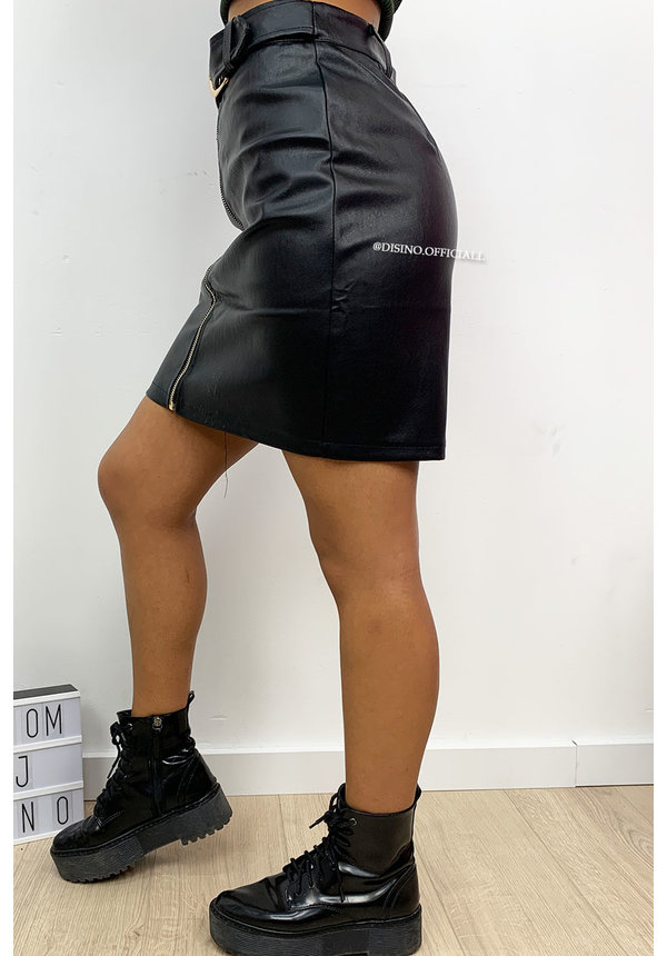 BLACK - 'NIKKIE' - DOUBLE BELTED LEATHER SKIRT