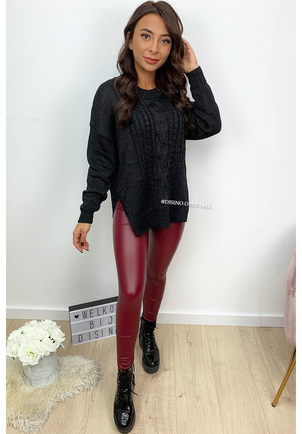 WINE RED - ESMERALDA - LEATHER LOOK LEGGING PANTS