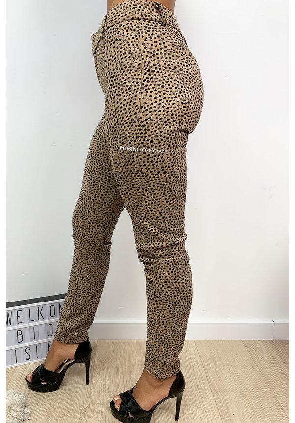 CAMEL - 'ILONA' - SUEDINE LEOPARD PANTS