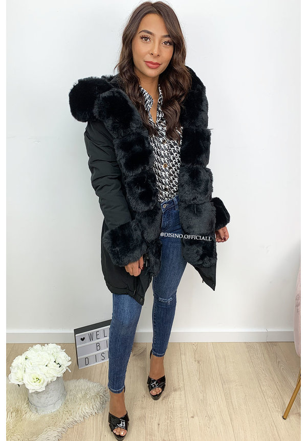 BLACK - 'HAILEY' - PREMIUM QUALITY BIG FUR WINTER PARKA