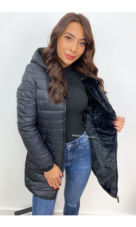 BLACK - 'PHOEBE' - 2 IN 1 JACKET LONG