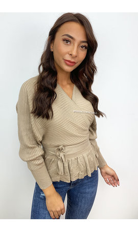 BEIGE - 'SUZE' - KNITTED V-TOP PEPLUM