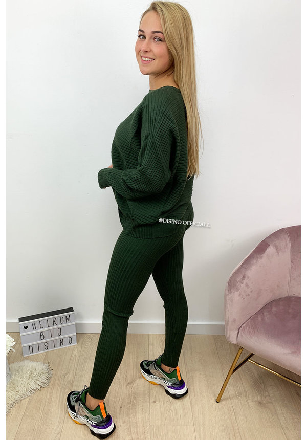 KHAKI GREEN - 'MELISSA PANTS' - PREMIUM QUALITY COMFY RIBBED TWIN SET
