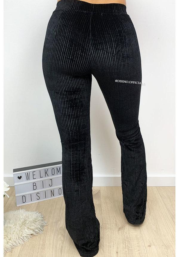 BLACK - 'AMBER' - VELVET RIBBED FLARED PANTS