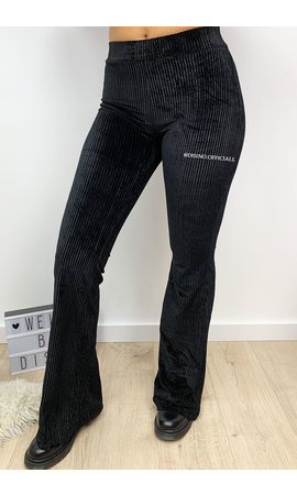 BLACK - 'AMBER' - VELVET RIBBED FLARED PANTS