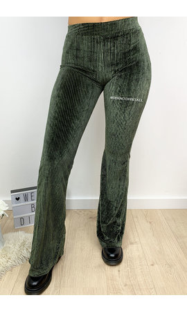 KHAKI GREEN - 'AMBER' - VELVET RIBBED FLARED PANTS