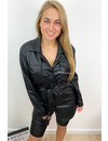 BLACK - 'KARINA' - VEGAN LEATHER BLOUSE DRESS