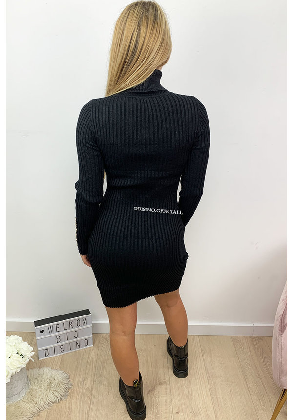 BLACK - 'SAMANTHA' - GLITTERLY RIBBED COL DRESS