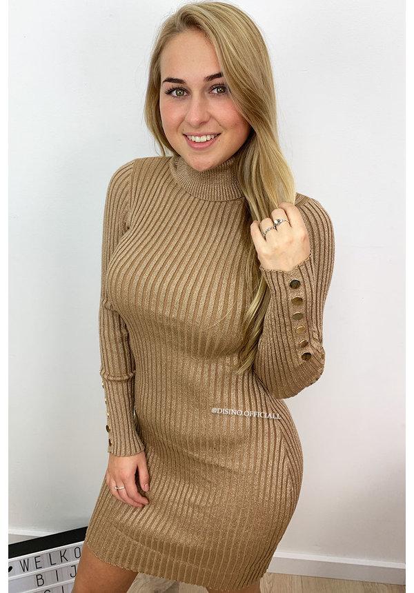 BEIGE - 'SAMANTHA' - GLITTERLY RIBBED COL DRESS
