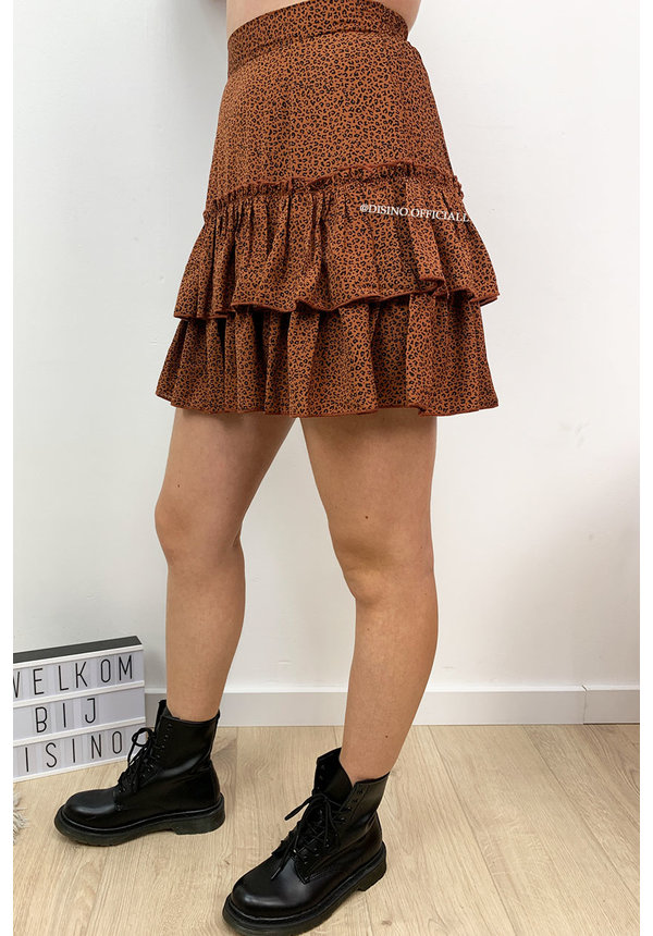 BROWN - 'ILSE SKIRT' - LEOPARD PRINT LAYERED RUFFLE SKIRT