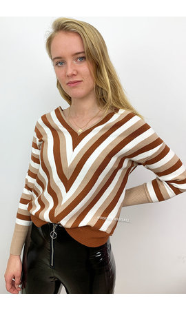 BROWN - 'VERONA' - V NECK STRIPED JUMPER