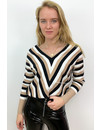 BEIGE - 'VERONA' - V NECK STRIPED JUMPER