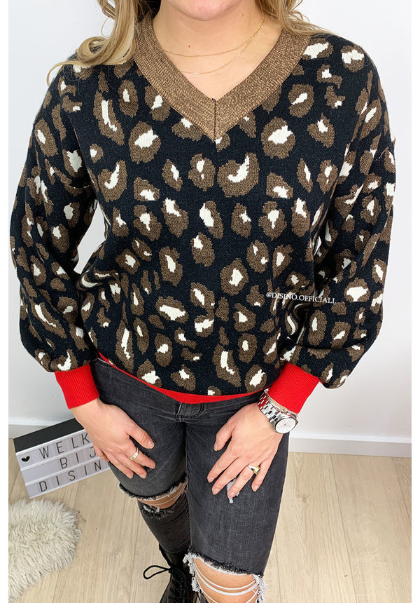 BLACK - 'DAAN' - SOFT TOUCH LEOPARD V-NECK SWEATER