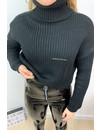 BLACK - 'KATE' - CROPPED SWEATER COL