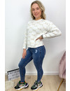 QUEEN HEARTS JEANS - BLUE - RIPPED KNEE ANKLE ZIP - 9225