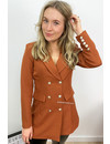 RUST - 'CHRYSTEL' - DOUBLE BREASTED GOLD BUTTON BLAZER DRESS