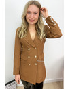 CAMEL - 'CHRYSTEL' - DOUBLE BREASTED GOLD BUTTON BLAZER DRESS